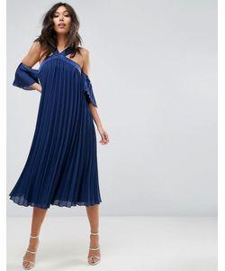 Asos | Плиссированное Платье Миди С Открытыми Плечами