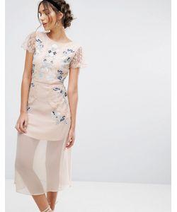 Frock and Frill | Платье Миди Со Вставками И Вышивкой Frock Frill