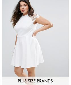 Club L | Короткое Приталенное Платье Из Кружева С Короткими Рукавами