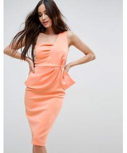 Asos | Платье Миди На Одно Плечо С Баской