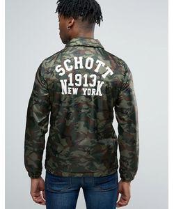 Schott | Зеленая Камуфляжная Куртка С Логотипом На Спине