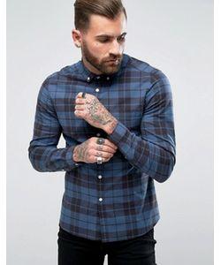 Asos | Темно-Синяя Эластичная Рубашка Узкого Кроя В Клетку