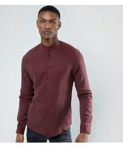 Asos | Бордовая Рубашка Классического Кроя С Воротом На Пуговице Tall