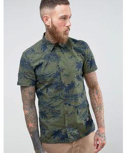 Schott | Зеленая Рубашка Милитари С Короткими Рукавами И Гавайским Принтом Isla