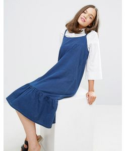 Monki | Джинсовое Платье На Бретельках С Оборкой По Краю