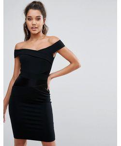 Lipsy | Платье С Открытыми Плечами И Атласной Вставкой Michelle Keegan Loves