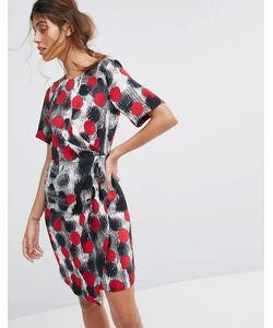 Closet London | Платье С Короткими Рукавами Запахом На Юбке И Складками Closet