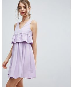 Asos | Платье Мини Для Выпускного С Укороченной Накладкой И Оборкой