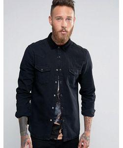 Asos | Черная Свободная Джинсовая Рубашка В Стиле Вестерн