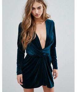 MISSGUIDED | Бархатное Платье С Запахом