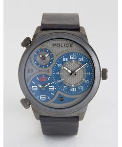 Police | Мужские Часы С Черным Кожаным Ремешком И Серо-Синим Многофункциональным Циферблатом