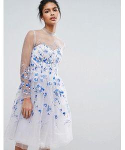 Chi Chi London | Тюлевое Платье Миди С Длинными Рукавами И Вышивкой