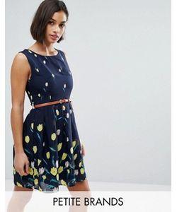 Yumi Petite | Короткое Приталенное Платье С Принтом И Поясом