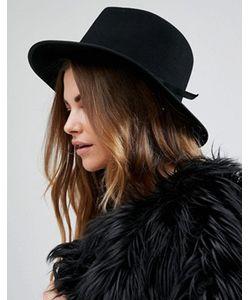 Brixton | Черная Фетровая Шляпа С Поплиновой Лентой Manhattan