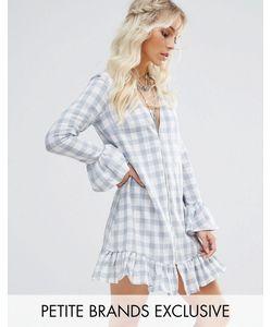 Glamorous Petite | Свободное Платье Мини В Клеточку С Оборками