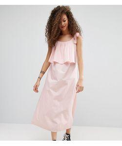 ASOS PETITE | Хлопковое Двухслойное Платье Макси