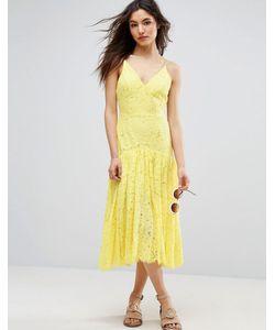 Asos | Кружевное Платье Миди С Заниженной Талией
