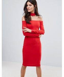 Jessica Wright | Платье Миди С Длинными Рукавами И Чокером