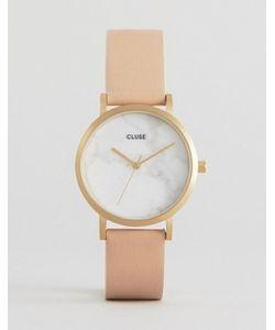 Cluse | Часы С Мраморным Принтом На Циферблате И Розовым Кожаным Ремешком