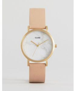 Cluse   Часы С Мраморным Принтом На Циферблате И Розовым Кожаным Ремешком
