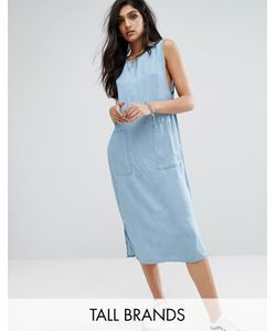 Noisy May Tall | Джинсовое Цельнокройное Платье Миди Из Ткани Шамбре
