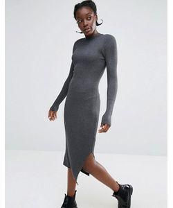 Monki | Трикотажное Платье В Рубчик С Высокой Горловиной