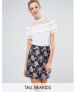 Fashion Union Tall | Блузка С Кружевной Кокеткой И Рюшами