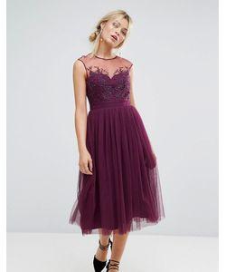 Little Mistress | Платье Миди С Кружевной Отделкой