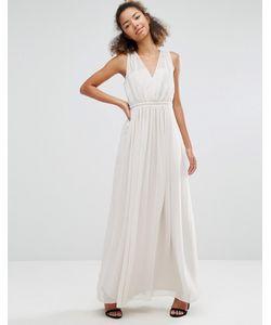 Vila | Платье Макси С V-Образным Вырезом И Складками