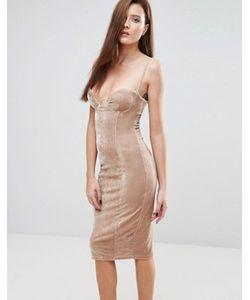 Rare | Бархатное Платье Миди На Тонких Бретельках