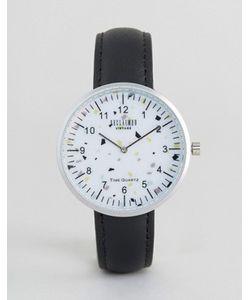 Reclaimed Vintage | Часы С Принтом И Черным Кожаным Ремешком