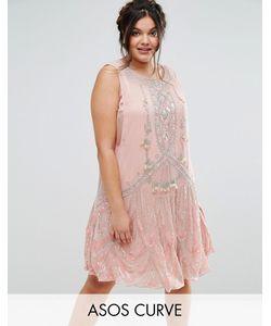 ASOS CURVE | Платье Мини С Декоративной Отделкой