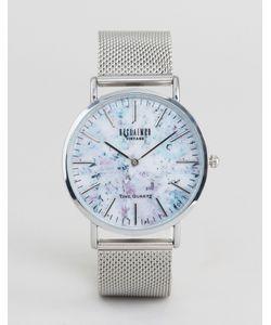 Reclaimed Vintage   Часы С Мраморным Принтом И Серебристым Сетчатым Ремешком