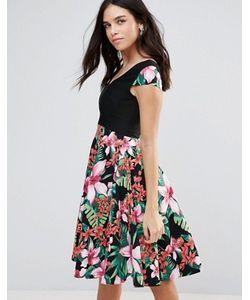 Vesper | Платье С Цветочным Принтом И Юбкой-Трапецией