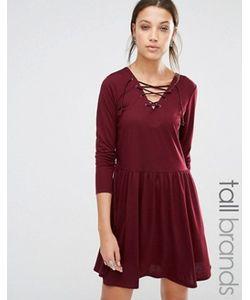 Brave Soul Tall   Короткое Приталенное Трикотажное Платье Со Шнуровкой