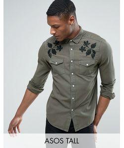 Asos | Джинсовая Рубашка В Стиле Вестерн Классического Кроя С Вышивкой Tall