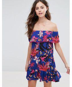 boohoo | Платье С Открытыми Плечами И Цветочным Принтом