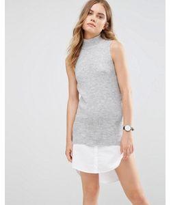 Noisy May | Трикотажное Платье С Высокой Горловиной И Рубашечной Кромкой
