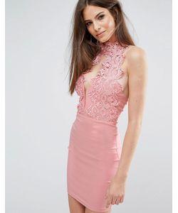 Rare | Кружевное Платье Мини С Высоким Воротом И Декольте London