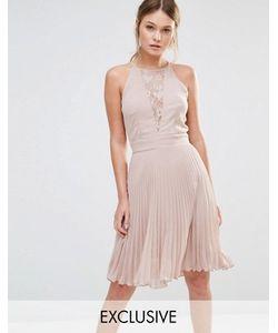 Elise Ryan | Плиссированное Платье Мини С Кружевной Вставкой