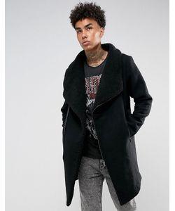 BLACK KAVIAR | Черное Шерстяное Пальто На Подкладке Из Искусственного Меха