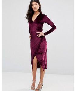 Club L | Вельветовое Асимметричное Платье Миди С Глубоким V-Образным Вырезом