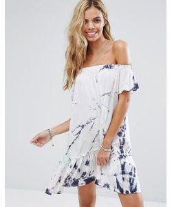 Surf Gypsy | Пляжное Платье Со Спущенными Плечами И Принтом Тай-Дай
