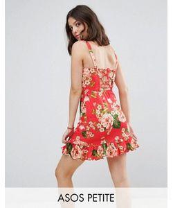 ASOS PETITE | Легкое Платье Мини Со Шнуровкой На Спине И Оборкой На Подоле