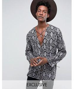 Reclaimed Vintage   Рубашка Классического Кроя Со Змеиным Принтом И Шнуровкой Inspired