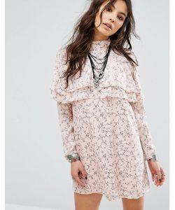 Glamorous | Цельнокройное Платье В Цветочек С Оборками Спереди