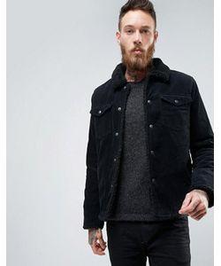 Asos | Вельветовая Черная Куртка На Искусственной Меховой Подкладке
