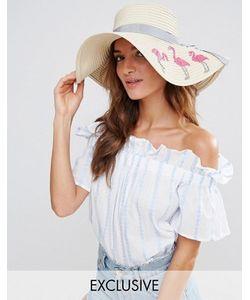 South Beach | Соломенная Шляпа С Фламинго