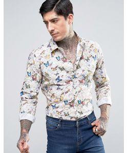 Devils Advocate | Butterfly Print Slim Fit Shirt