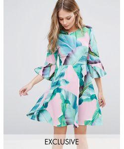 Every Cloud   Платье Мини С Пальмовым Принтом И Расклешенными Рукавами
